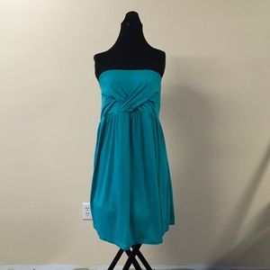 New Teal Strapless Dress Swim Cover Up Large